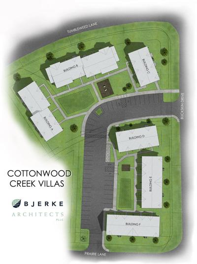 Architect schematic sketch of Cottonwood Creek Villas in Deer Lodge