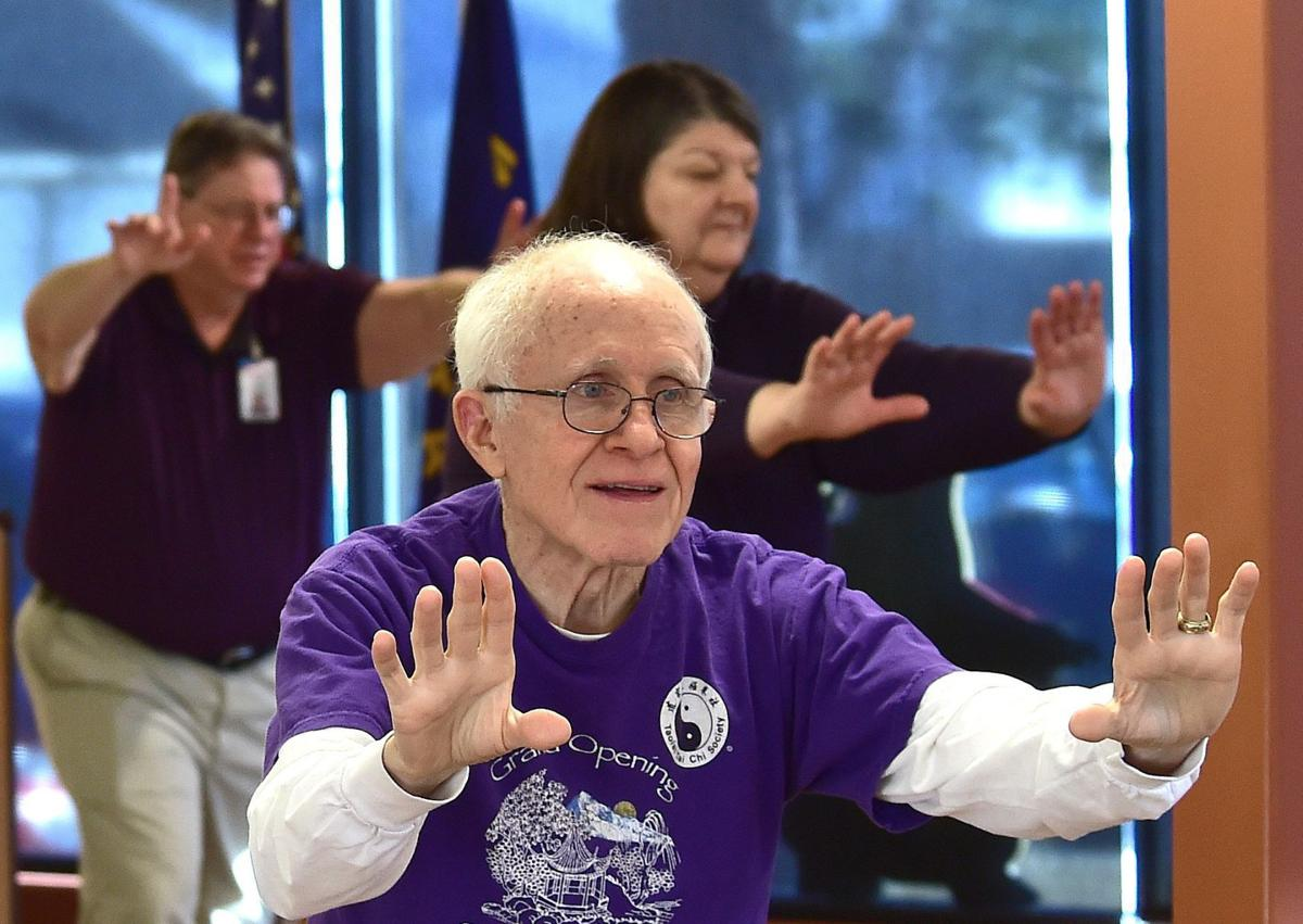 Joel Bowers practices tai chi