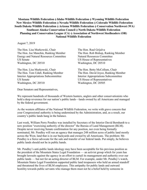 National Wildlife Federation letter