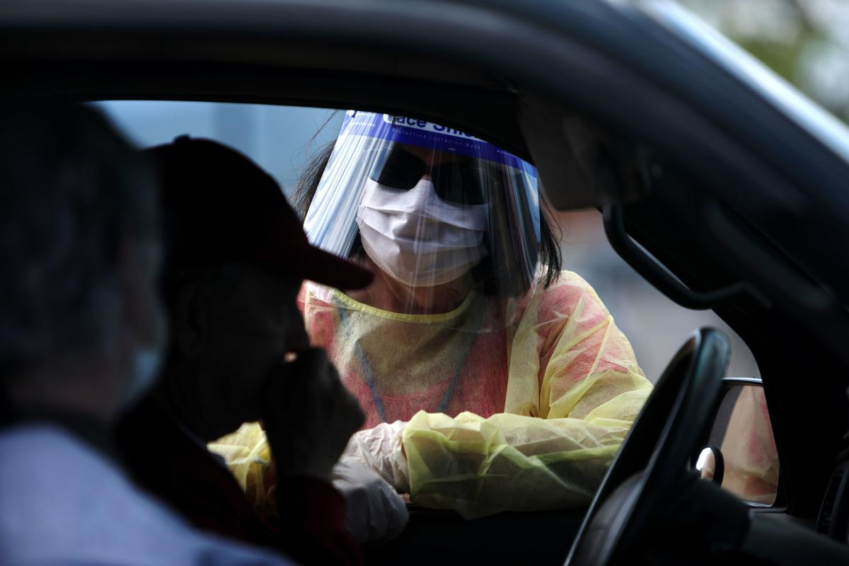 Free coronavirus testing at the Butte Plaza Mall parking lot