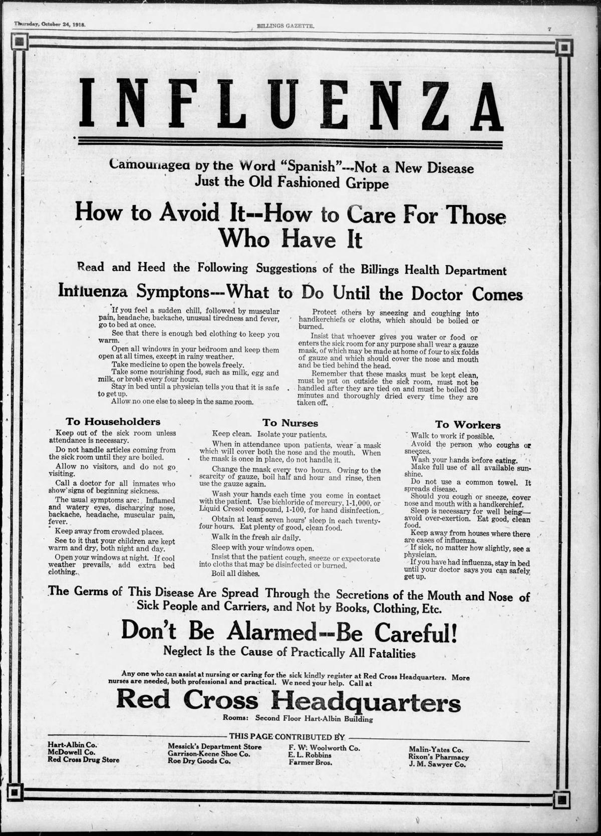 Influenza prevention and care tips, October 1918