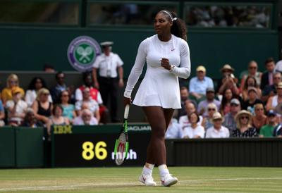 Serena Williams celebrates on day seven of the Wimbledon Championships at the All England Lawn Tennis and Croquet Club, Wimbledon, on July 9, 2018.