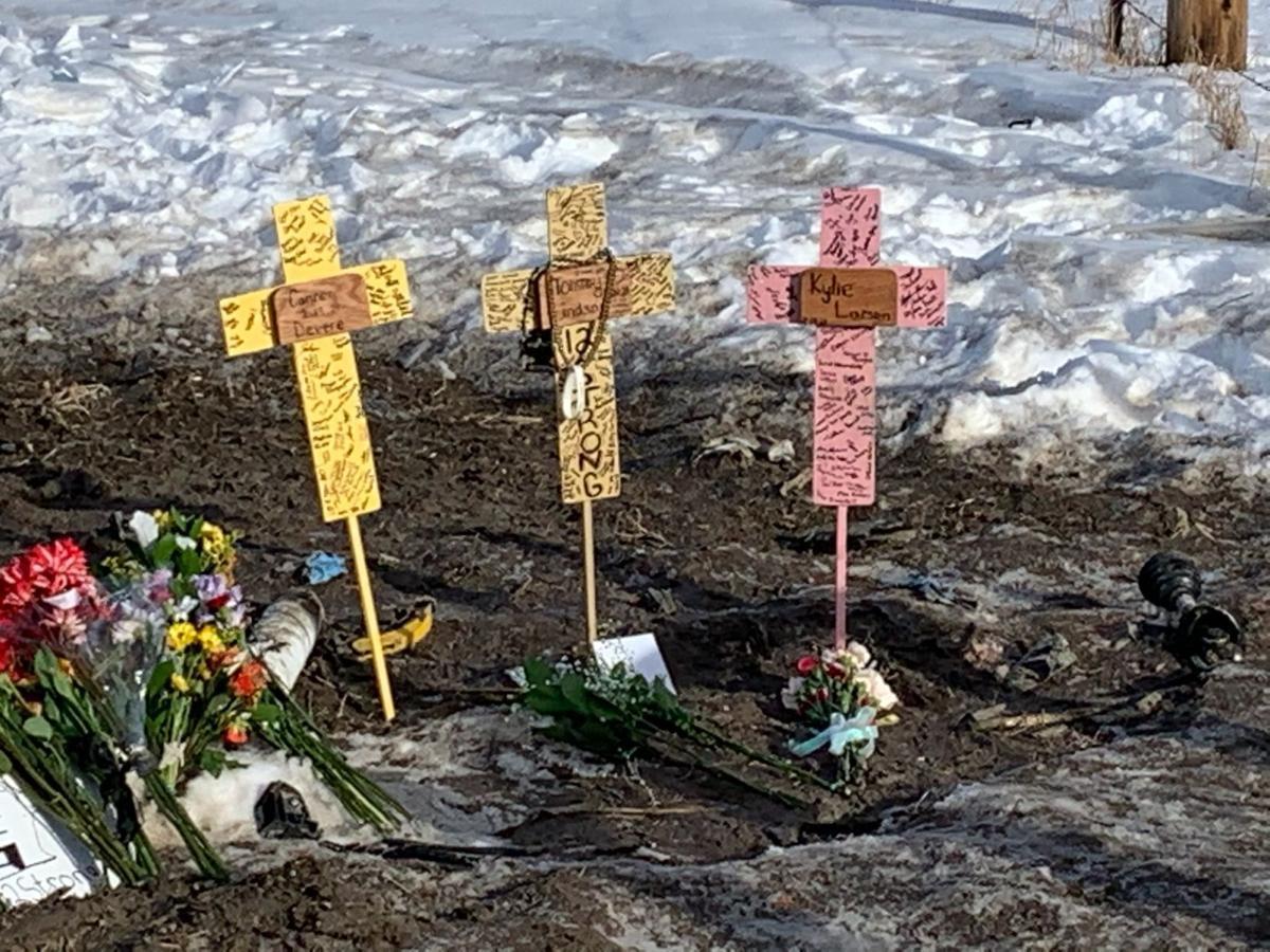 Crosses at crash site