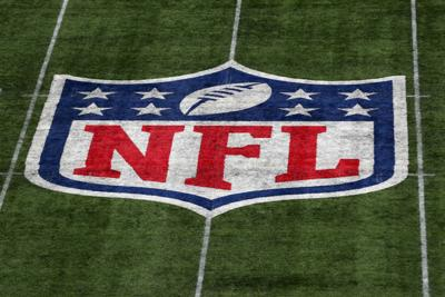 A detailed view of the NFL logo on the field during a game between Carolina Panthers and Tampa Bay Buccaneers at Tottenham Hotspur Stadium in London on October 13, 2019.