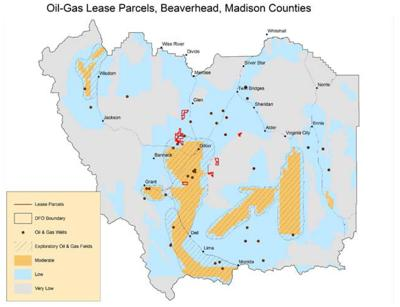 Map of potential oil and gas leases in the Big Hole, Beaverhead valleys
