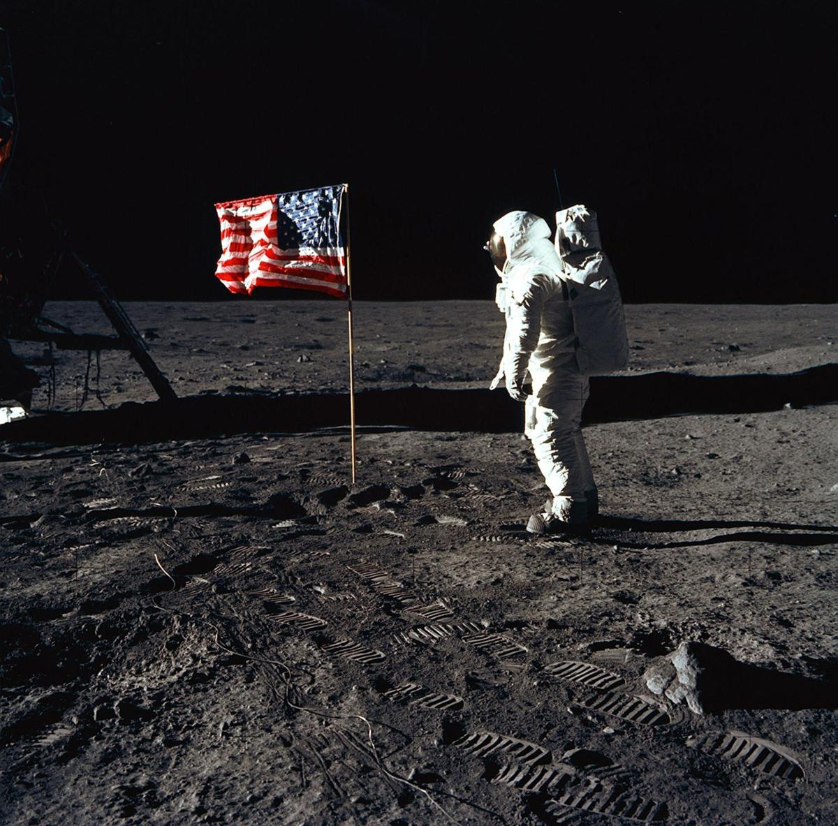 Astronaut Buzz Aldrin stands on the moon during the Apollo 11 mission on July 20, 1969. Aldrin and fellow astronaut Neil Armstrong were the first men to walk on the lunar surface, a milestone being marked this summer by 50th anniversary celebrations across the country.