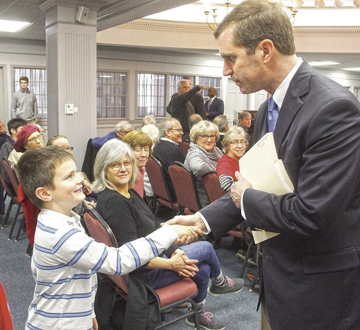 Beshear with letter writer