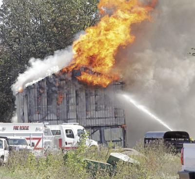 Tobacco Barn fire flames