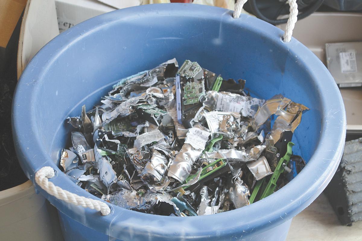 E-scrap shredded