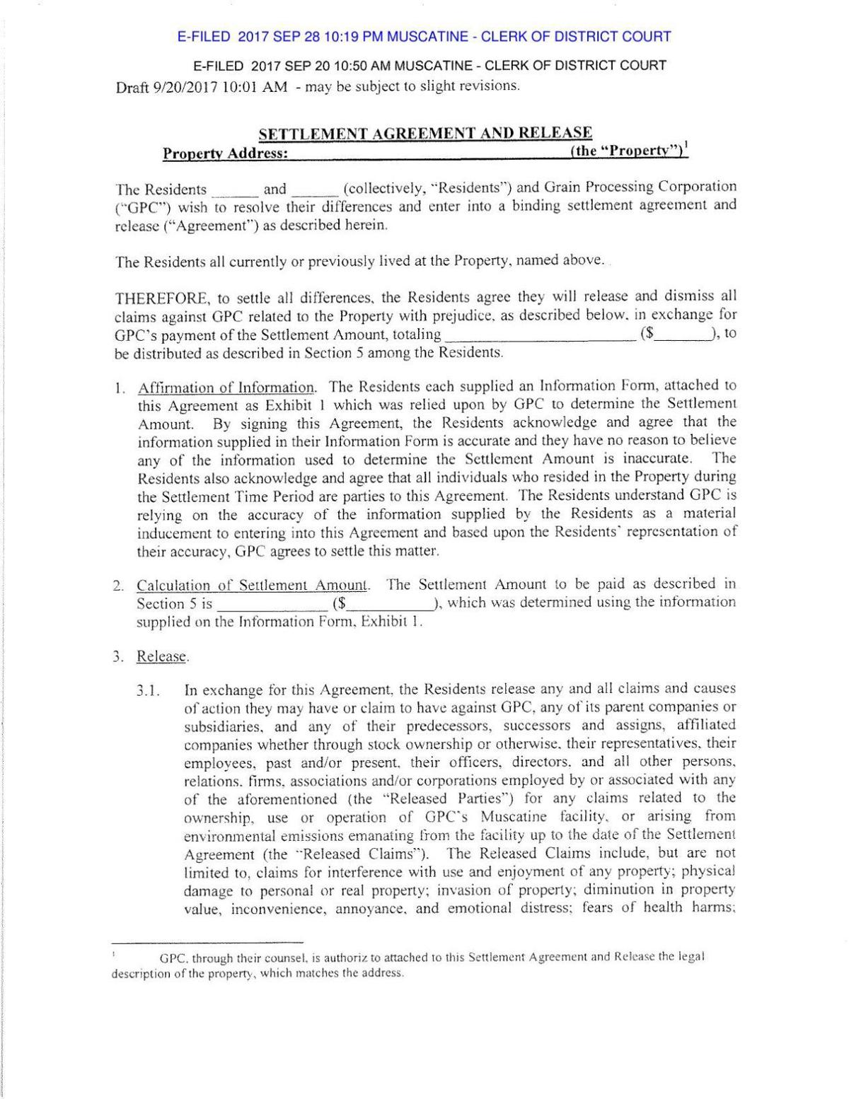 settlement agreement and release