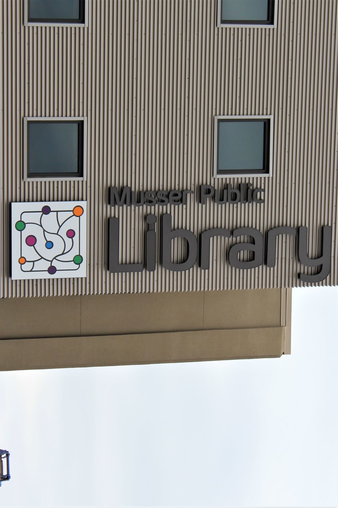 Musser Library east side sign
