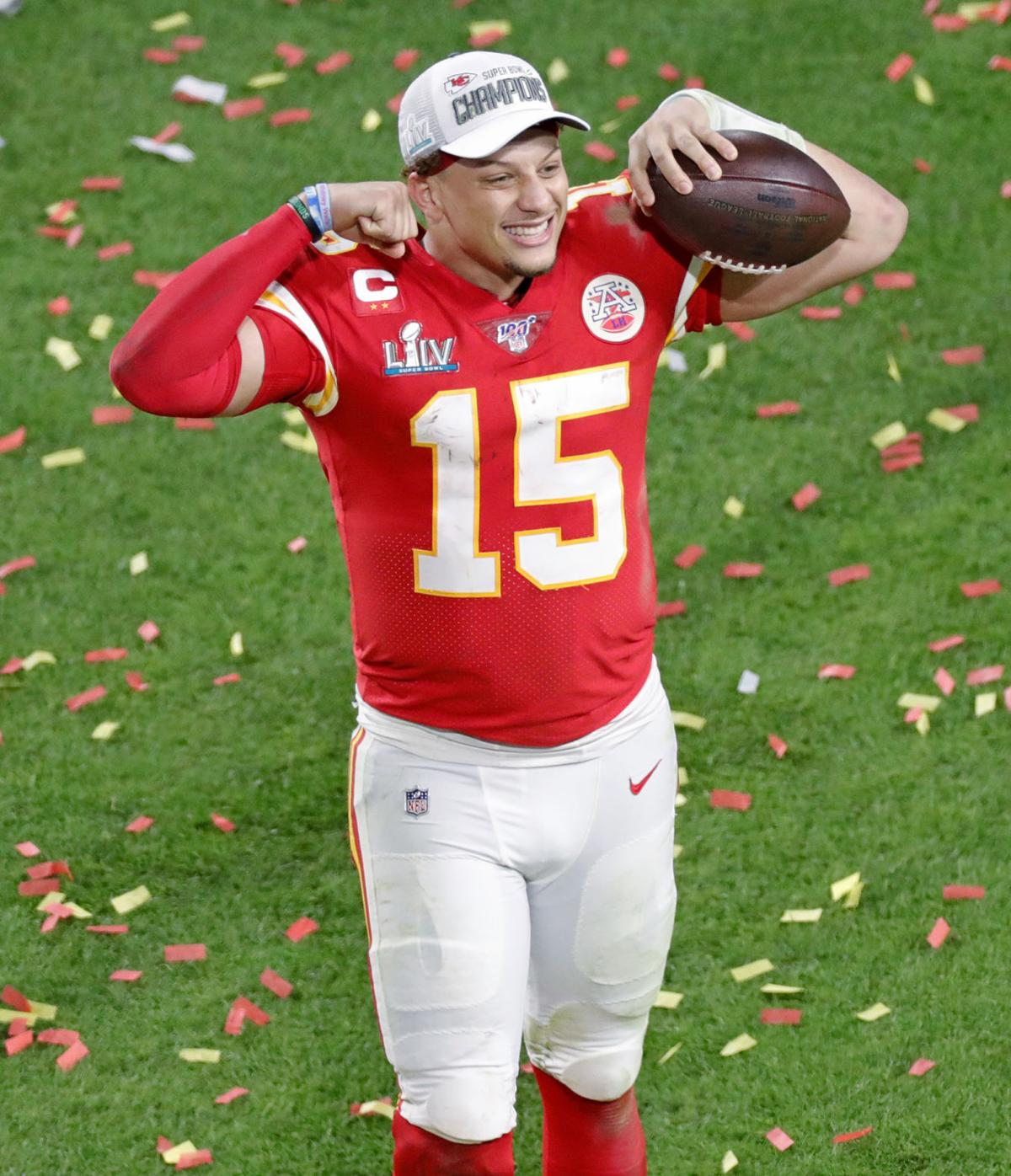 Kansas City Chiefs quarterback Patrick Mahomes (15) celebrates after winning Super Bowl LIV, 31-20, against the San Francisco 49ers at Hard Rock Stadium in Miami Gardens, Fla., on Sunday, Feb. 2, 2020.