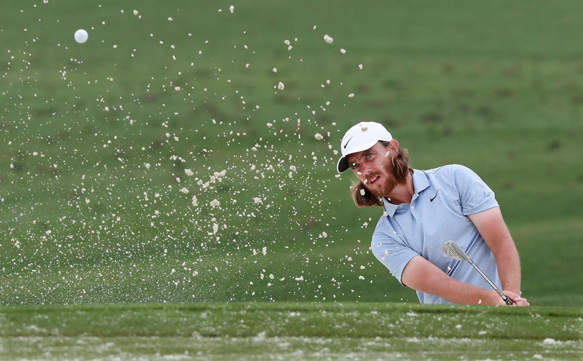Tommy Fleetwood works on his bunker shot at the practice range following his press conference for the Masters at Augusta National Golf Club on Monday, April 8, 2019 in Augusta, Ga.