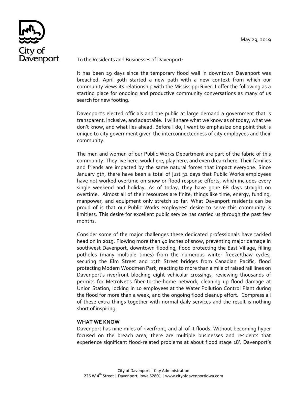 Davenport flood response letter