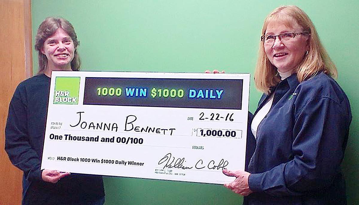 Bennett wins $1000 from HR Block