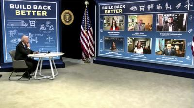 Hoskin speaks during White House virtual meeting with President Biden