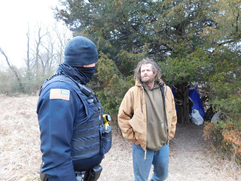 Police check on homeless during inclement weather
