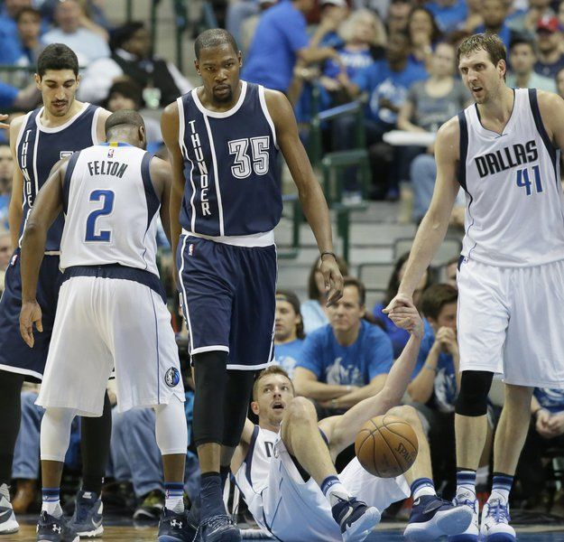 214a0badbc17 Thunder beat Mavericks 119-108 for 3-1 lead in testy series. Oklahoma City s  forward Kevin Durant (35) walks away after knocking over Dallas  ...