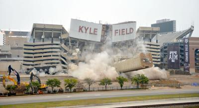 Kyle Field west side implosion