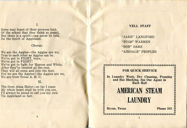 Spirit of Aggieland in 1926 yell book
