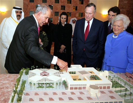 The Bushes attend Texas A&M Qatar opening