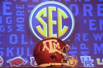 A&M helmet and SEC logo