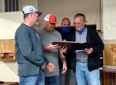 Hurlock Volunteer Fire Company presents Larry Dukes with an award