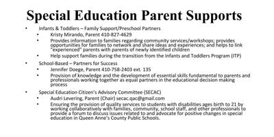 Special Education Parent Supports
