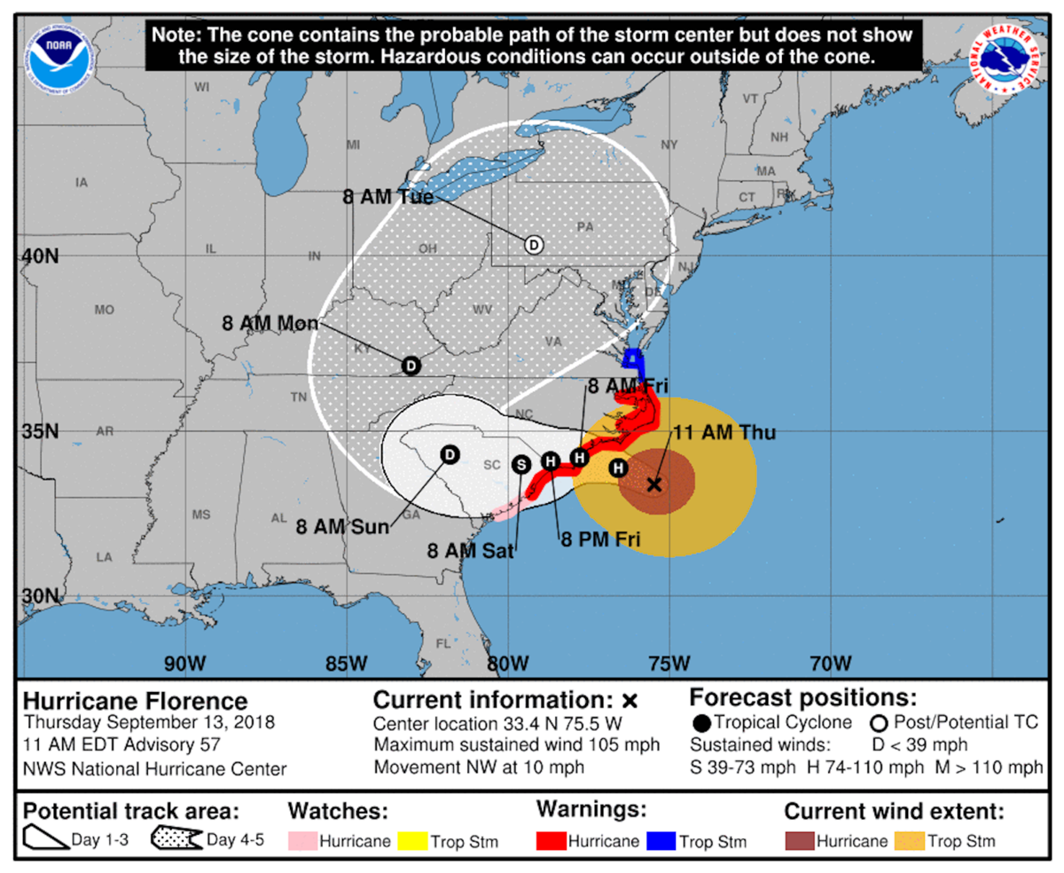 Wind and rain from Hurricane Florence expected Monday