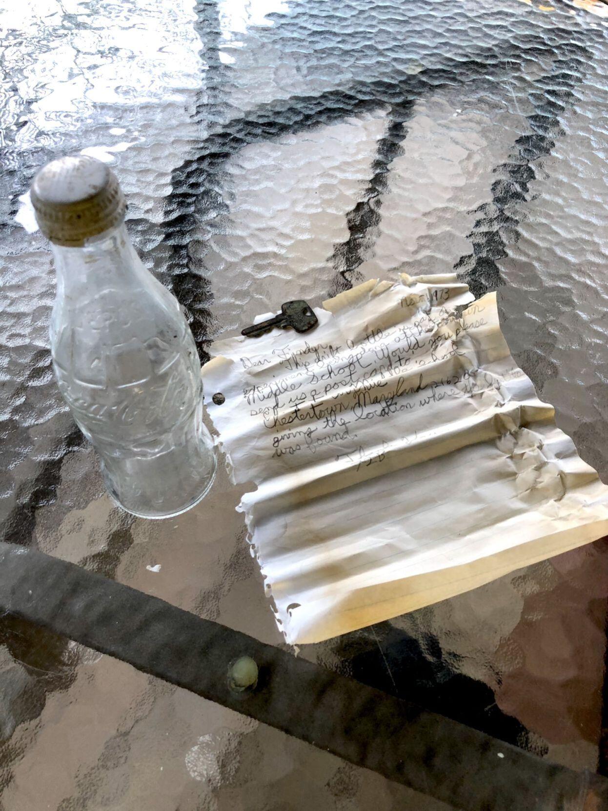 Message in a bottle found in Still Pond Creek