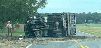 Dump truck overturned on Route 16