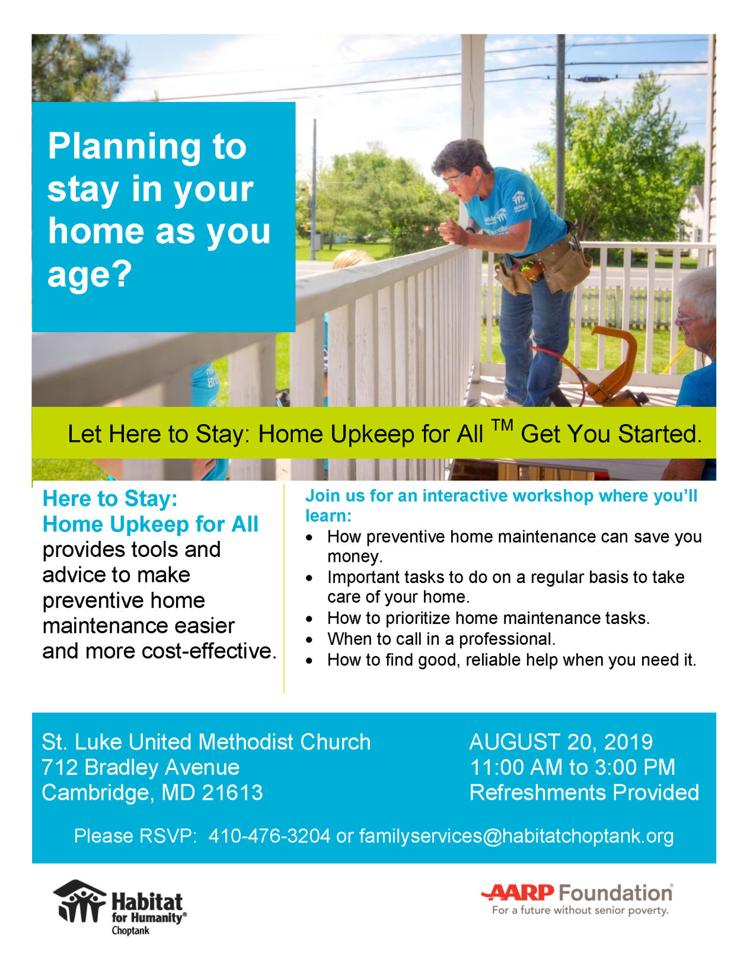 Here to Stay: Home Upkeep for All Workshop Flyer