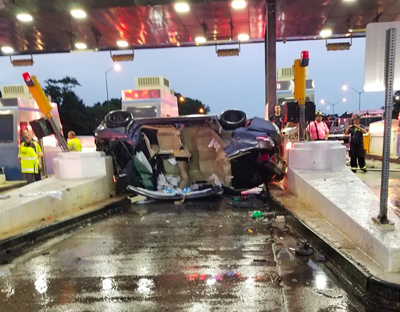 Vehicle rollover May 30 closed three lanes at toll plaza