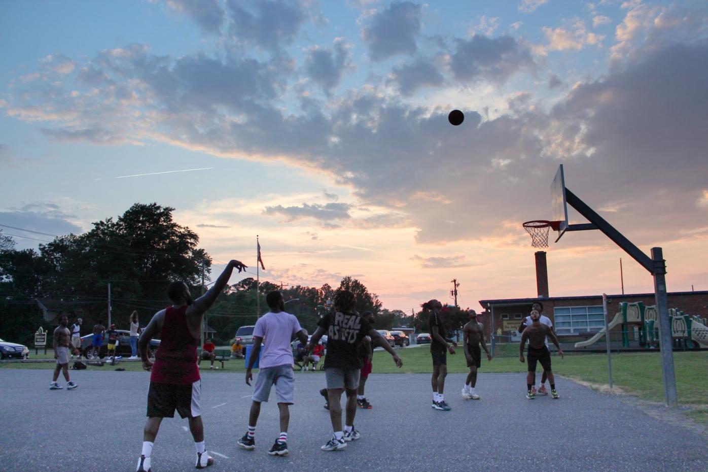 Basketball at dusk