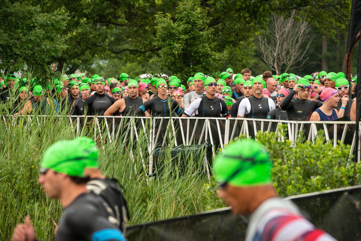 2021 Eagleman race swimmers wait