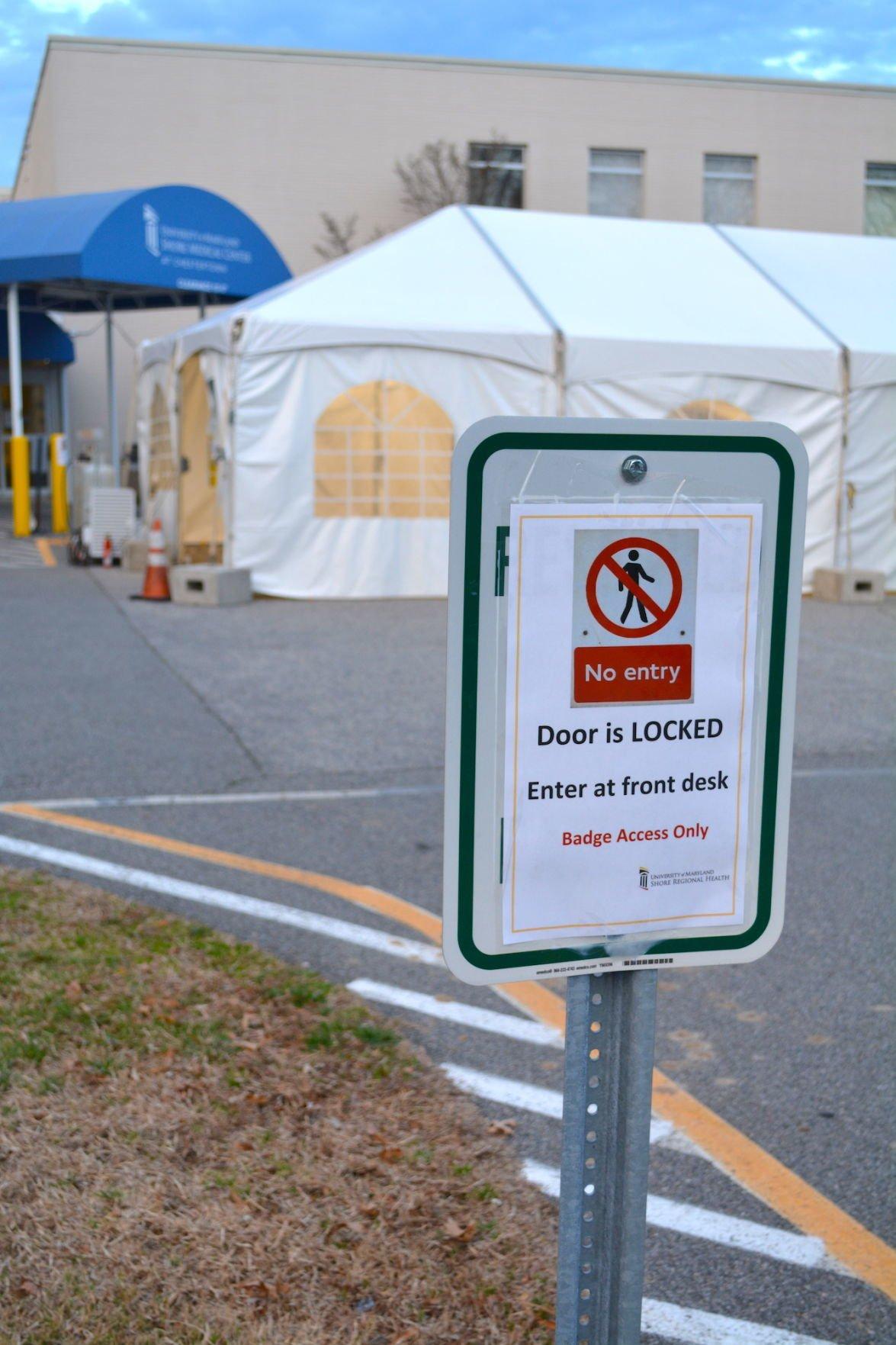 UM Shore Regional Health sets up triage tents as COVID-19 preparedness