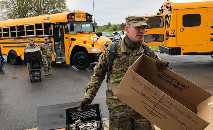 National Guard Assists Dorchester County Public Schools With Food Distribution Emergency Notice Myeasternshoremd Com