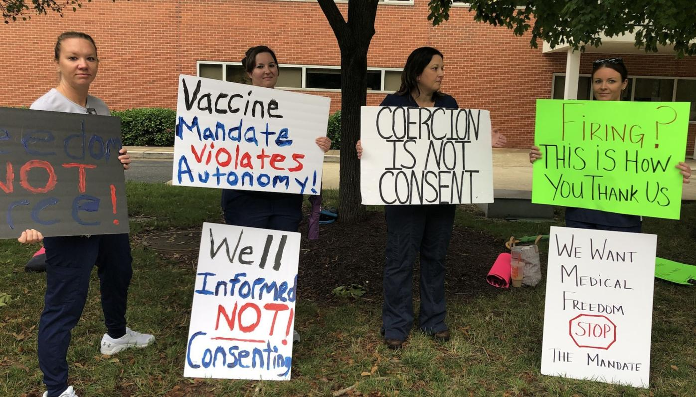 Hospital workers protest COVID vaccine mandate in Easton