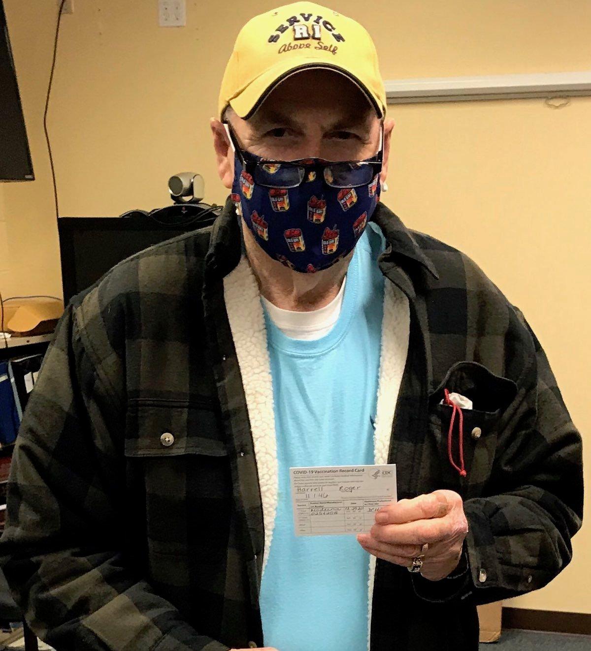 Roger Harrell Receives Vaccine