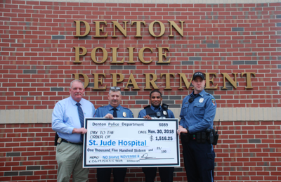 Denton police department makes second annual 'No Shave November' donation