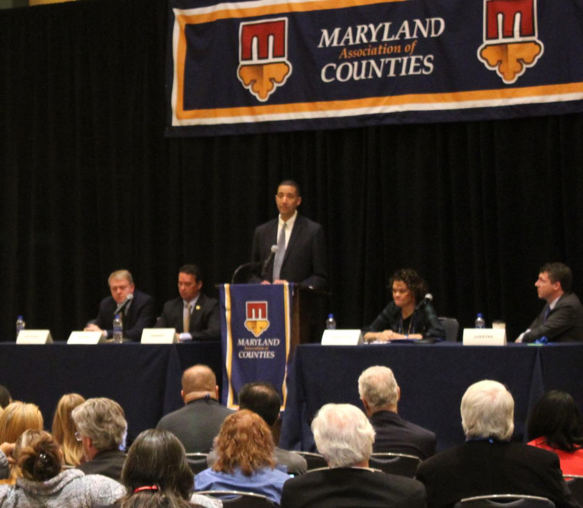 The Governor's Chief Legislative Officer Keiffer Mitchell addresses the Maryland Association of Counties earlier this month.