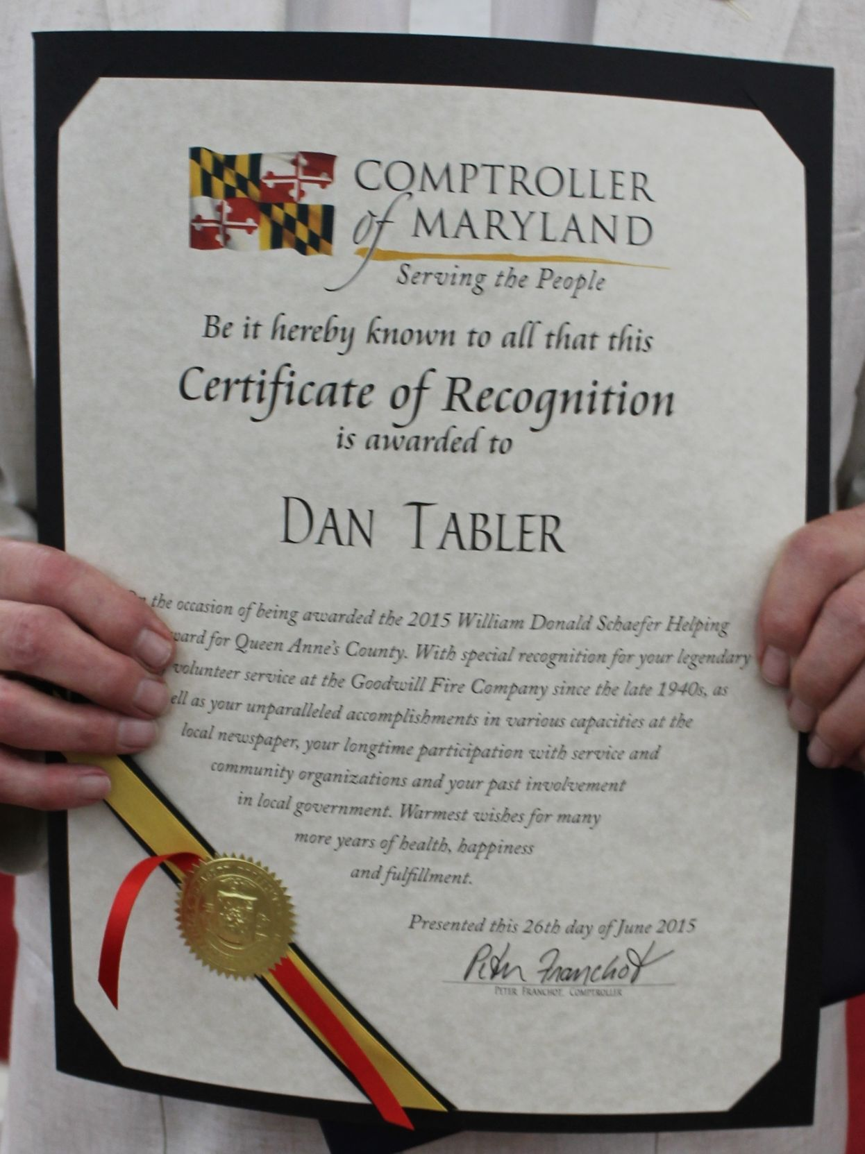 Dan Tabler Recognized By Franchot For Contributions To Community