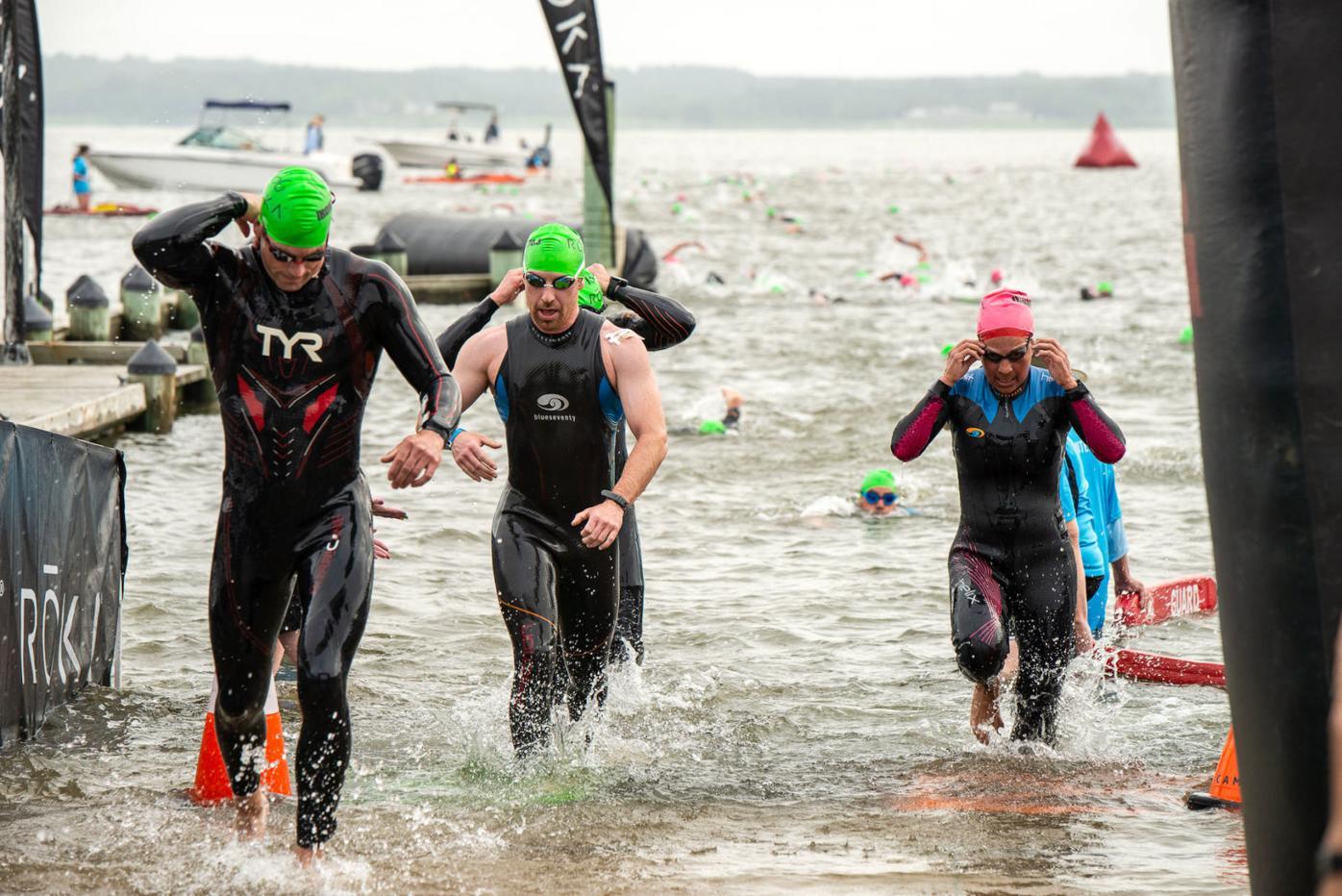 2021 Eagleman race swimmers come ashore