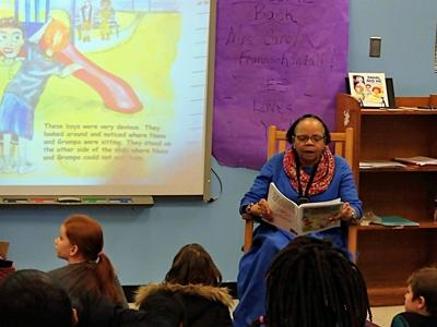Author reads story aloud