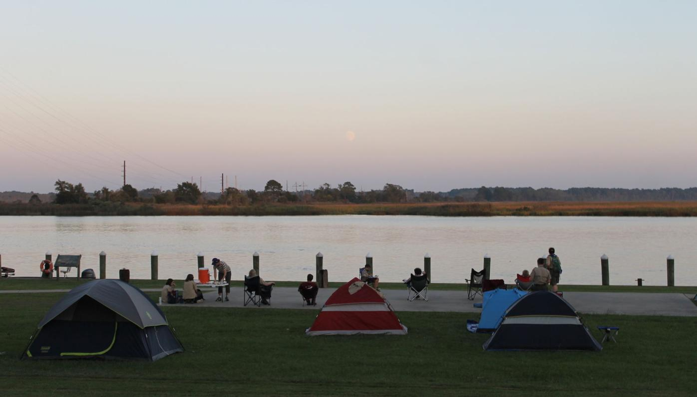 Scout watch moonrise over the Nanticoke