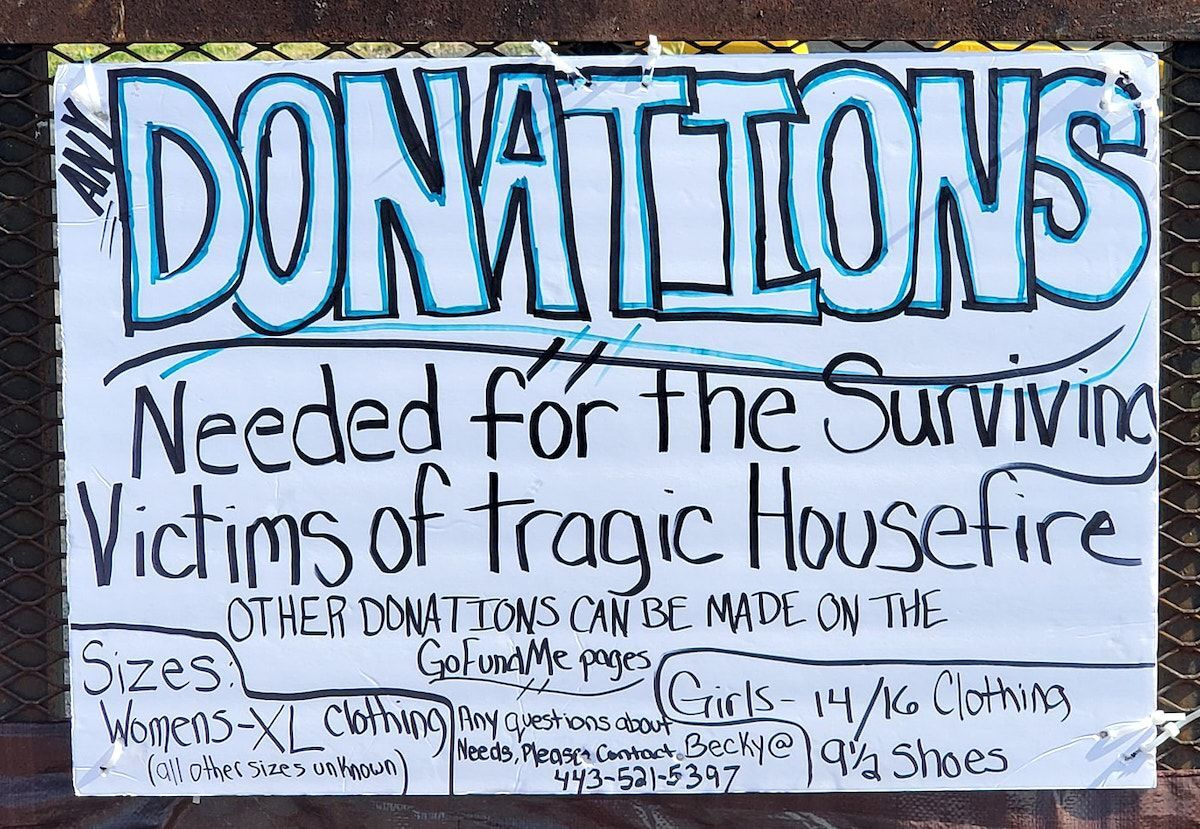 Donations for fire victims