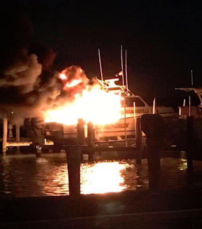 grasonville vfd boat damaged by fire police and fire