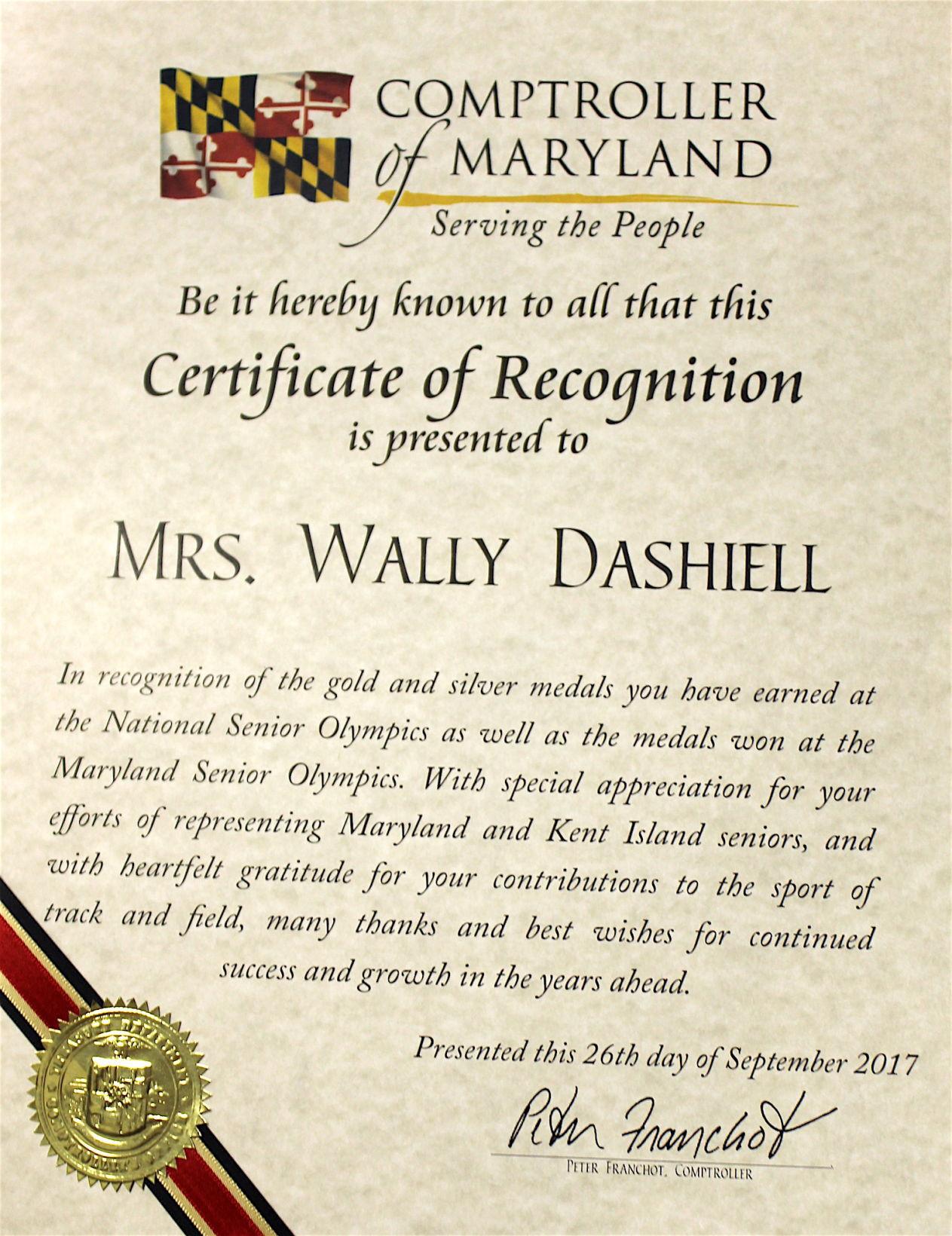 Franchot Honors Sr Olympian Dashiell Spotlight Myeasternshoremd Com