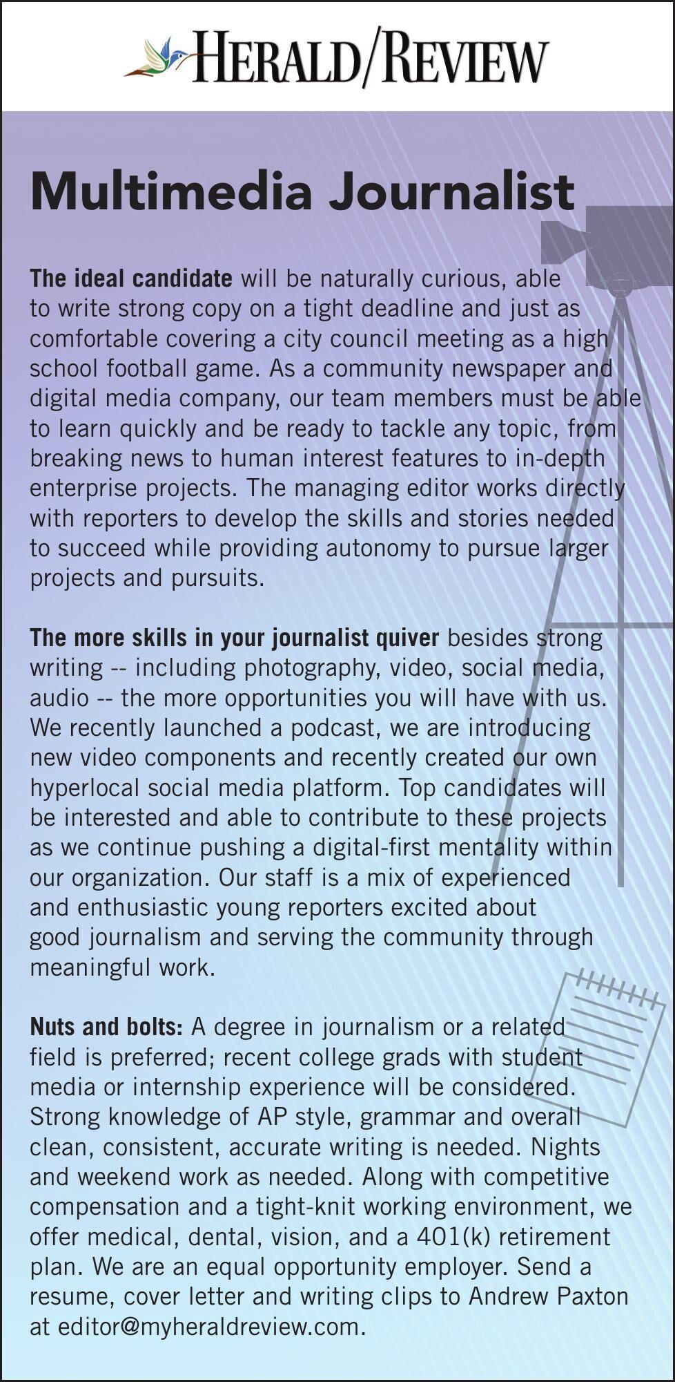 Now Hiring Multimedia Journalist