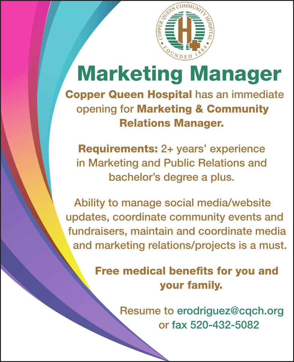 Copper Queen is Hiring for a Marketing Manager